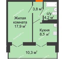 1 комнатная квартира 39,6 м², Жилой дом по ул.Минской 43/3 - планировка