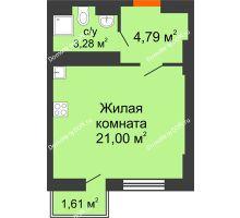 Студия 29,07 м² в ЖК Мечников, дом ул. Таврическая, 4 - планировка