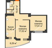 2 комнатная квартира 66,92 м² в ЖК Звезда, дом № 1 - планировка