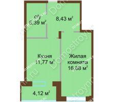 1 комнатная квартира 46,59 м² в ЖК Солнечный город, дом на участке № 208 - планировка