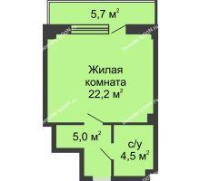 Студия 34,6 м² в ЖК Новый Город, дом № 2 - планировка