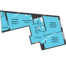 3 комнатная квартира 82,3 м² в ЖК Маршал Град, дом № 3 - планировка