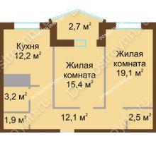 2 комнатная квартира 69,1 м² в ЖК Монолит, дом № 89, корп. 1, 2 - планировка
