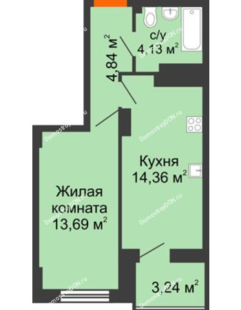 1 комнатная квартира 38,64 м² в ЖК Аврора, дом № 3