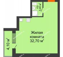 Студия 40,2 м² в ЖК Сиреневый квартал, дом Секция 2 - планировка