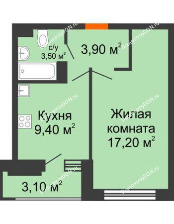 1 комнатная квартира 35,6 м² в ЖК Южный Берег, дом Литер 4