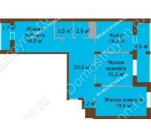 3 комнатная квартира 100,4 м² в ЖК Монолит, дом № 89, корп. 1, 2 - планировка