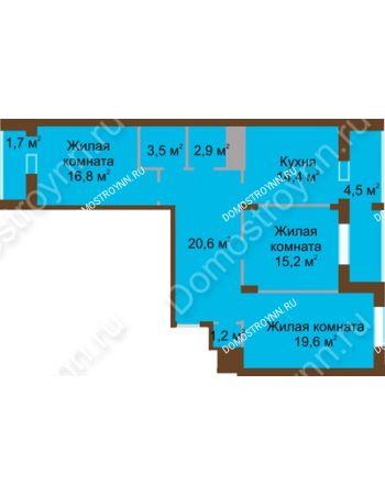 3 комнатная квартира 100,4 м² в ЖК Монолит, дом № 89, корп. 1, 2