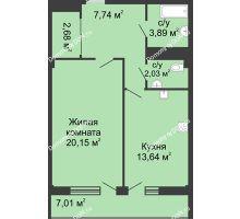 1 комнатная квартира 53,5 м² в  ЖК РИИЖТский Уют, дом Секция 1-2 - планировка