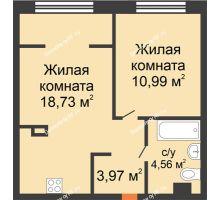 """2 комнатная квартира 38,25 м² в ЖК Европейский берег, дом ГП-9 """"Дом Монако"""" - планировка"""