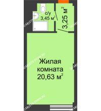 Студия 27,33 м², Апарт-Отель Гордеевка - планировка
