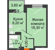 1 комнатная квартира 39,1 м², ЖК Zапад (Запад) - планировка