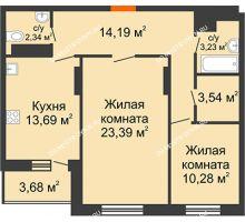2 комнатная квартира 72,5 м², ЖК Командор - планировка