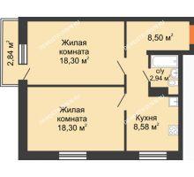 2 комнатная квартира 57,47 м² в ЖК Мончегория, дом № 6 - планировка