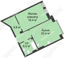 1 комнатная квартира 51,7 м² в ЖК Славянский квартал, дом № 188 - планировка