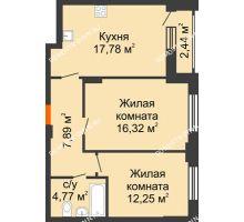 2 комнатная квартира 60,23 м², ЖК КМ Флагман - планировка