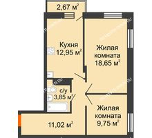 2 комнатная квартира 57,02 м² - ЖК Зеленый берег Life