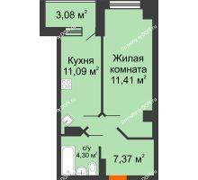 1 комнатная квартира 43,24 м², ЖК Штахановского - планировка