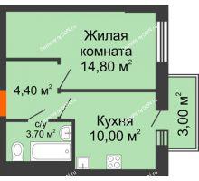 1 комнатная квартира 33,8 м² в ЖК 5 Элемент (Пятый Элемент), дом Корпус 5-4 - планировка