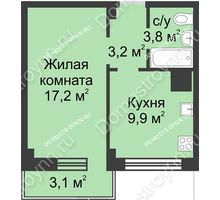 1 комнатная квартира 37,2 м² в ЖК Зенит, дом д. 7 - планировка