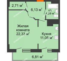 1 комнатная квартира 53,32 м² в ЖК Покровский, дом № 1 - планировка