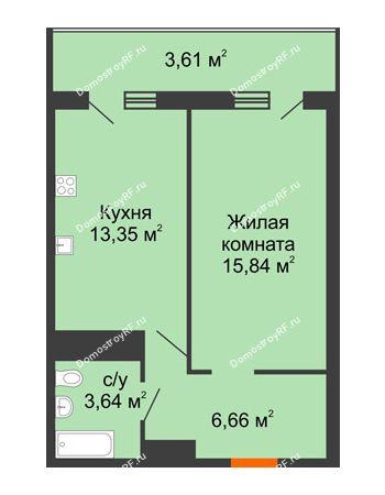 1 комнатная квартира 43,1 м² в ЖК Фамилия, дом Литер 1