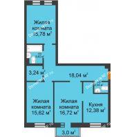 3 комнатная квартира 88,55 м² в ЖК Новоостровский, дом № 2 корпус 1 - планировка