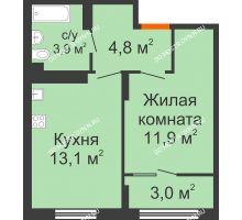 1 комнатная квартира 36,7 м² в ЖК Новая Кузнечиха, дом № 31 - планировка