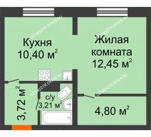 1 комнатная квартира 34,44 м² в ЖК Корабли, дом № 9-1 - планировка