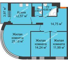 3 комнатная квартира 87,95 м², ЖК Командор - планировка