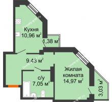 1 комнатная квартира 44,63 м² в ЖК Чернавский, дом 2 этап