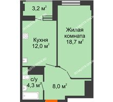 1 комнатная квартира 44,6 м² в ЖК Квартет, дом № 3 - планировка