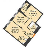 2 комнатная квартира 50,79 м² в ЖК Дом на Набережной, дом № 1 - планировка