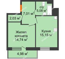 1 комнатная квартира 46,5 м² в ЖК Циолковский, дом № 3 - планировка