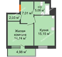 1 комнатная квартира 46,5 м² в ЖК Циолковский, дом № 5 - планировка