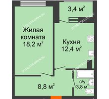 1 комнатная квартира 44,9 м² в ЖК Подкова на Родионова, дом № 2 - планировка