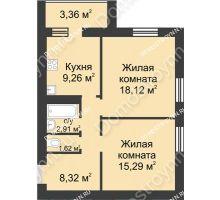 2 комнатная квартира 58,88 м² - ЖК Буревестник