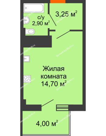 Студия 22,05 м² в ЖК Грин Парк, дом Литер 2