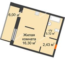 2 комнатная квартира 30,05 м² в ЖК Квартал на Московском, дом Альфа - планировка