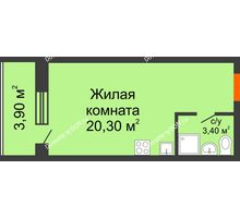 Студия 27,6 м² в ЖК Сиреневый квартал, дом Секция 1 - планировка