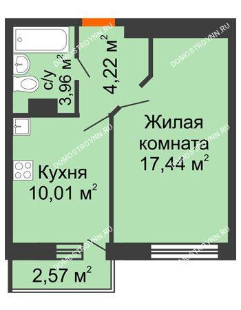 1 комнатная квартира 36,4 м² - ЖК Зеленый берег Life