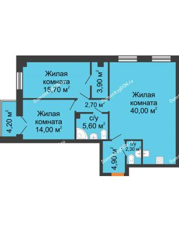 3 комнатная квартира 92,2 м² - ЖК Дом на 18-й Линии, 3