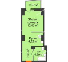 Студия 29,6 м² в ЖК Город у реки, дом Литер 7 - планировка