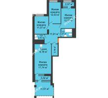 3 комнатная квартира 87,89 м² в ЖК Дом на Набережной, дом № 1 - планировка
