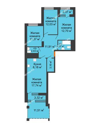3 комнатная квартира 87,89 м² в ЖК Дом на Набережной, дом № 1