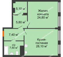 1 комнатная квартира 66,47 м² в ЖК Георгиевский, дом 2а - планировка