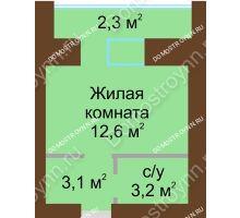 Студия 24,8 м² в ЖК Рубин, дом № 67 - планировка