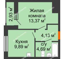 1 комнатная квартира 33,55 м², Жилой дом: ул. Сухопутная - планировка