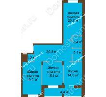 3 комнатная квартира 103,1 м² в ЖК Монолит, дом № 89, корп. 1, 2 - планировка