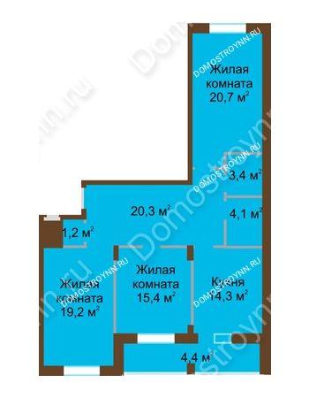 3 комнатная квартира 103,1 м² в ЖК Монолит, дом № 89, корп. 1, 2